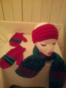 Hand knit muffler with matching Headband and adult size mittens