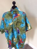 Turquoise Terivoile Parrots and Cockatoos Hawaiian shirt Size L £15